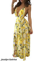 Jocelyn Katrina Brand Summer Style Printed Dress Hot Sexy Deep V Neck Spaghetti Straps Backless Maxi