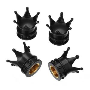 Image 4 - 4Pcs/set Universal Black Crown Style Car Tire Air Valve Stem Cap Auto Motorcycle Wheel Tyre Air Valve Dust Covers Accessories