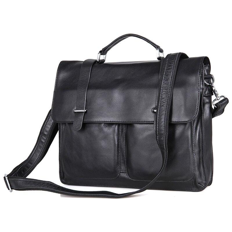 Augus 100% Guarantee Genuine Leather Black Vintage Leather Document Bag Messenger Multi-Compartment Design Bag 7100A