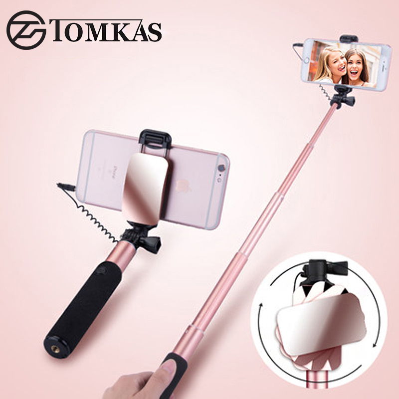 TOMKAS Mini Selfie Stick With Button Wired Monopod Universal For iPhone 6 5 S Android Samsung Huawei Xiaomi Sticks With Mirror