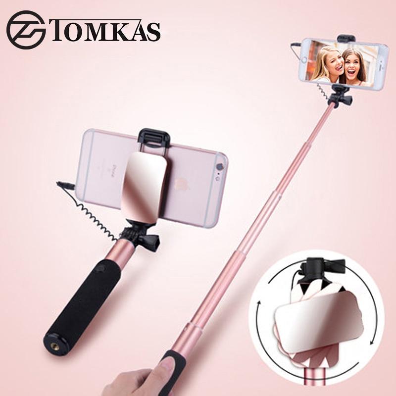 Tomkas mini selfie stick con botón de cable monopod universal para iPhone 6 5 s Android Samsung Huawei xiaomi Palos con espejo