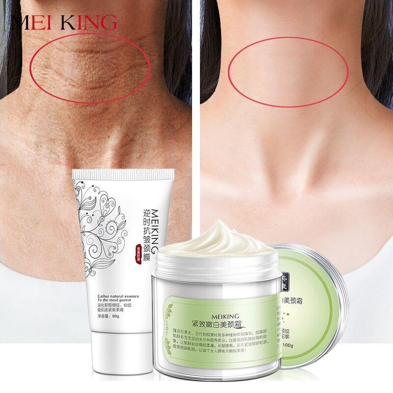 MEIKING máscara cuello cuidado de la piel crema Anti arrugas blanqueamiento hidratante reafirmante nutritiva Cuidado del cuello conjunto cuidado de la piel 180g
