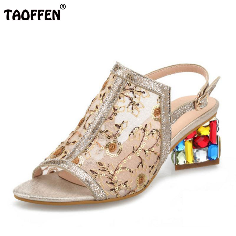 TAOFFEN free shipping quality genuine leather high heel sandals women sexy footwear fashion lady shoes P13945 hot sale 33-40