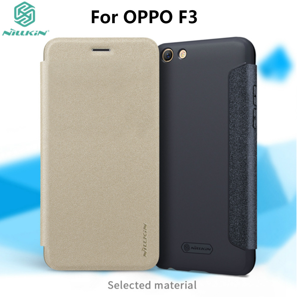 OPPO F3 Case Cover 5.5 inch NILLKIN Sparkle PU Leather Case For OPPO F3 Flip Cover Phone Bag