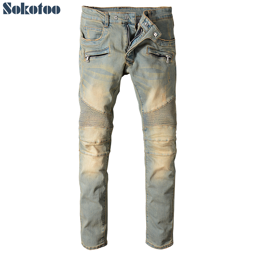 Sokotoo Mens plus size vintage slim straight biker jeans for motorcycle Patchwork pleated stretch denim pants ...