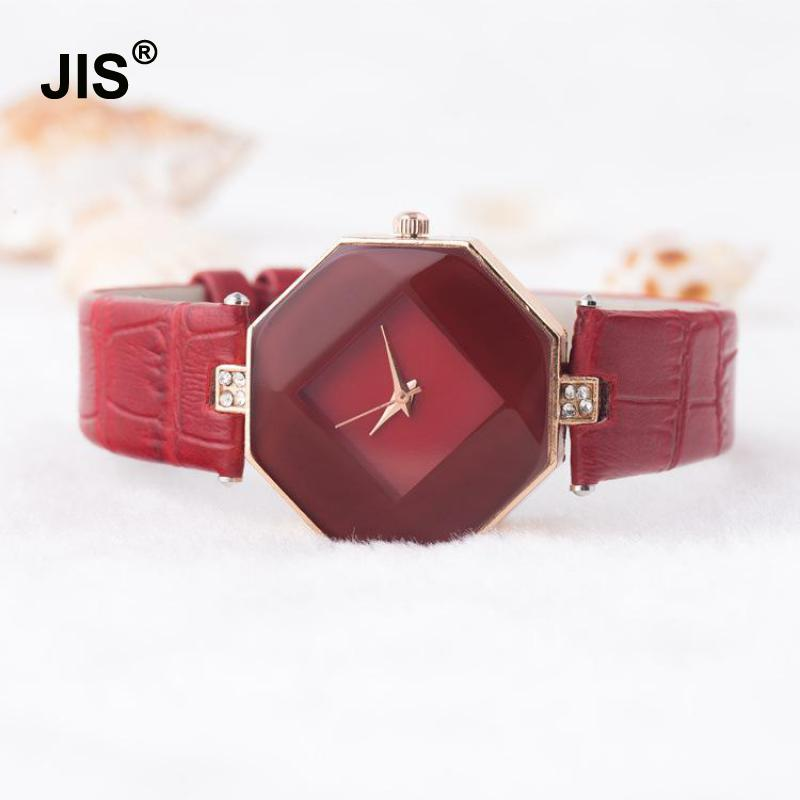 High Quality Simple Style Crystal Genuine Leather Analog Quartz Wrist Watch Wristwatches for Women Girls Black Red 2016 new hot sale brand magic star black white analog quartz bracelet watch wristwatches for women girls men lovers op001