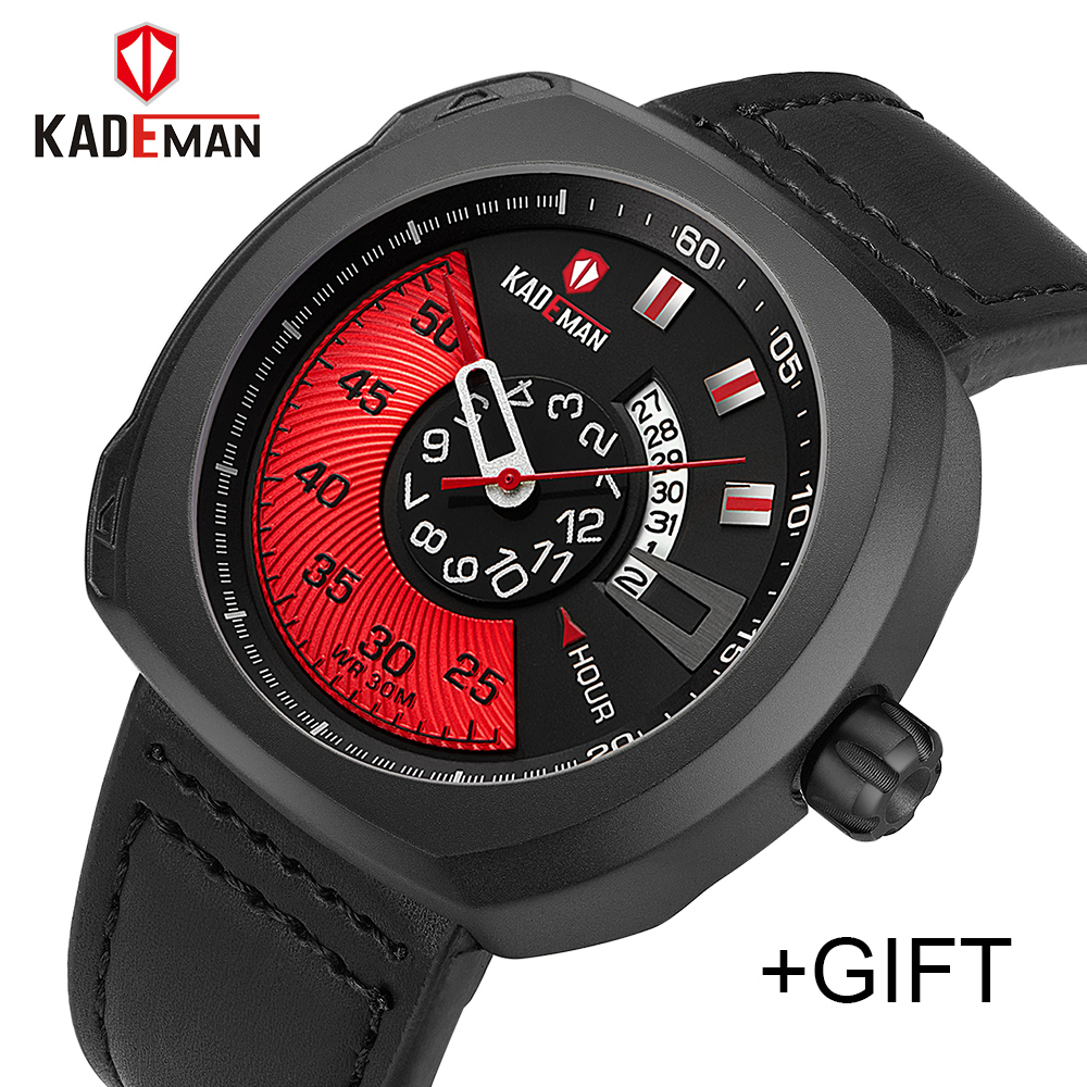 KADEMAN Men Luxury Sport Watch Quartz Analog Clock Man Leather Military Waterproof Watch Full steel Date Relogio Masculino dom men watch top luxury quartz analog clock leather steel strap watch complete calendar waterproof watch man relogios masculino