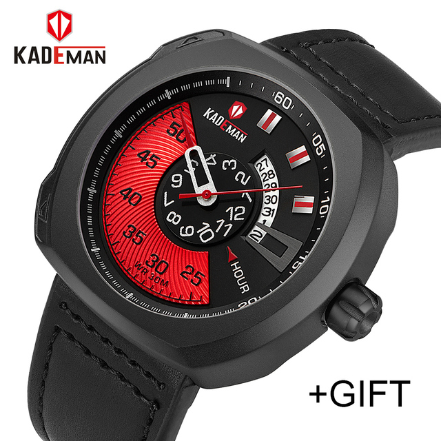 KADEMAN Men Luxury Sport Watch Quartz Analog Clock Man Leather Military Waterpro
