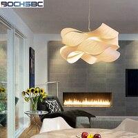 BOCHSBC Woodskin абажур с плоской свет Северной Европы творческий, современный, простой подвесной светильник для Гостиная столовая Hotel