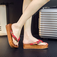 21e9e77bc0 WHOHOLL Geta Japanese Geta Sandals Summer Women Flip Flops Clogs Cos Boat  Shaped Platform Wooden Women