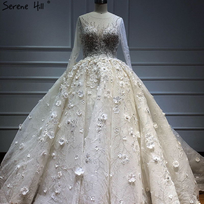 Dubai Ivory Long Sleeves Luxury Wedding Dresses 2019