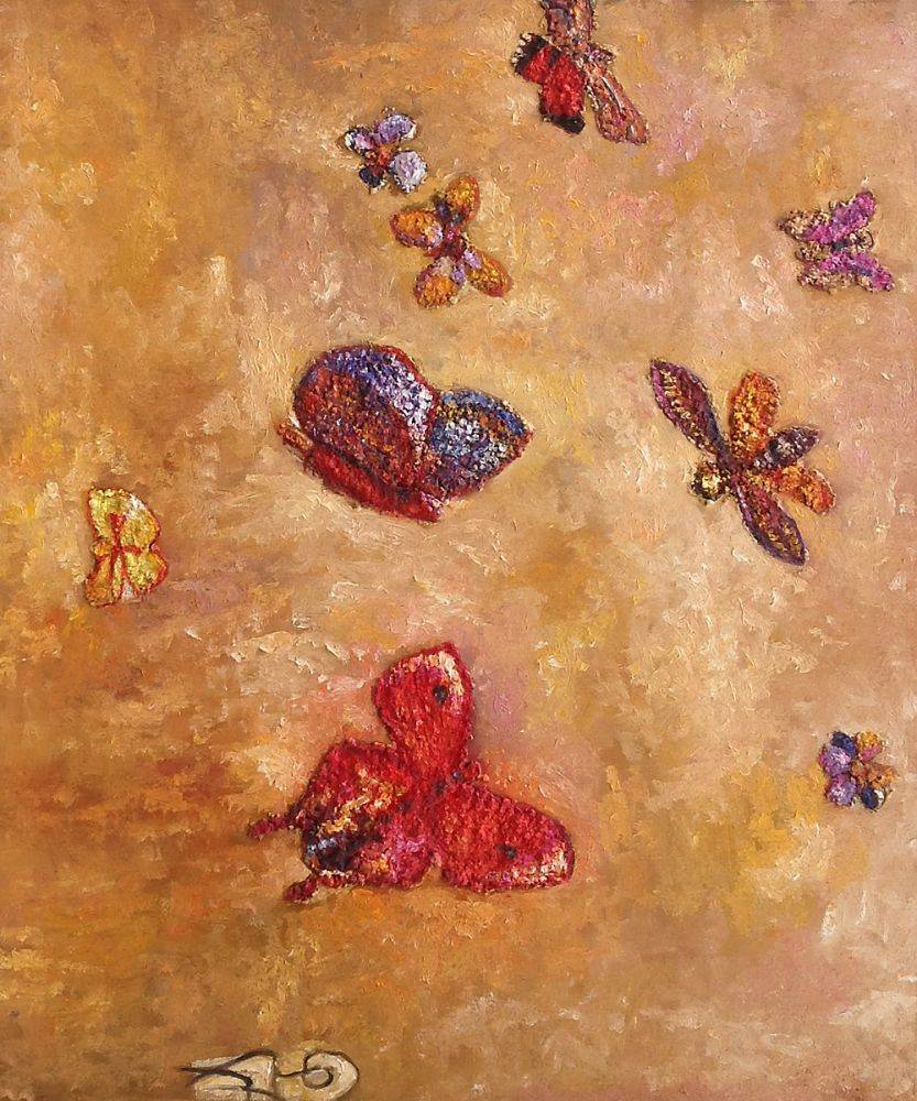 Hand Painted Animal Canvas Oil Painting Butterflies, 1913 -3711