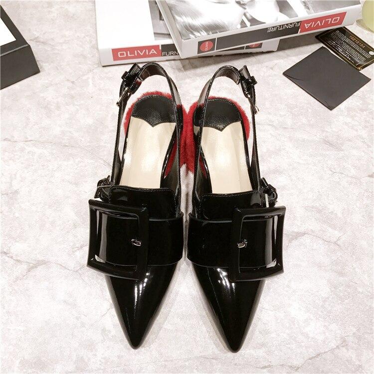 2018 Estilo Mujer Cuadrado Sexy Zapatos Tacones Del Pie Punta Negro Bombas Retro Cuero Talón De Alto Hebilla Mujeres Runway Dedo Sandalias rq5tRwr
