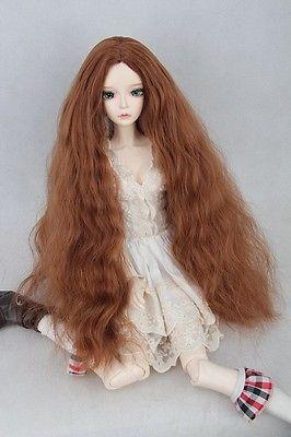 [wamami] 97# Brown Long Wavy Wig For 1/4 MSD AOD DOD DZ BJD Dollfie 7-8 inch forest retro uniform shoes 3colors for bjd 1 4 msd 1 3 sd10 sd13 super dollfie luts dod as dz doll shoes sw5