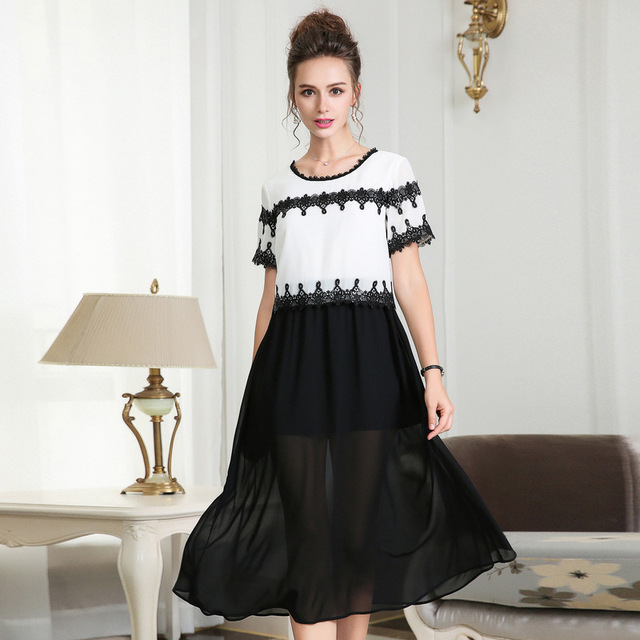 2018 Summer Ladies Plus Size elegant long chiffon Dress crochet contrast  color cultivated ball gown Dress casual vestidos XXXXXL 9646a42301fc