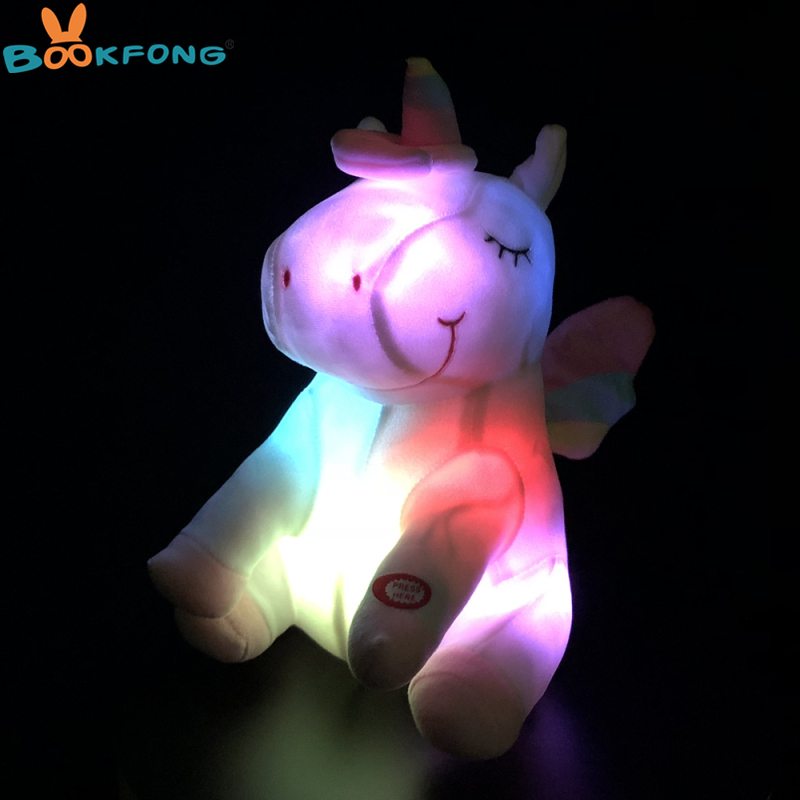 30cm LED Unicorn Plush Toys Plush Light Up Toys Stuffed Animals Cute Pony Horse Toy Soft Doll Kids Toys Christmas Birthday Gifts 30cm cute korea pororo little penguin plush toys doll pororo with glasses plush soft stuffed animals toys for children kids gift