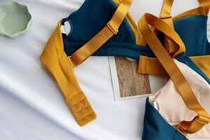 Image 5 - Wriufred Bra Push Up Cotton Underwear Women Bralette Wire Free Female Bra Contrast Lingerie Triangle Cup Plus Size Bras