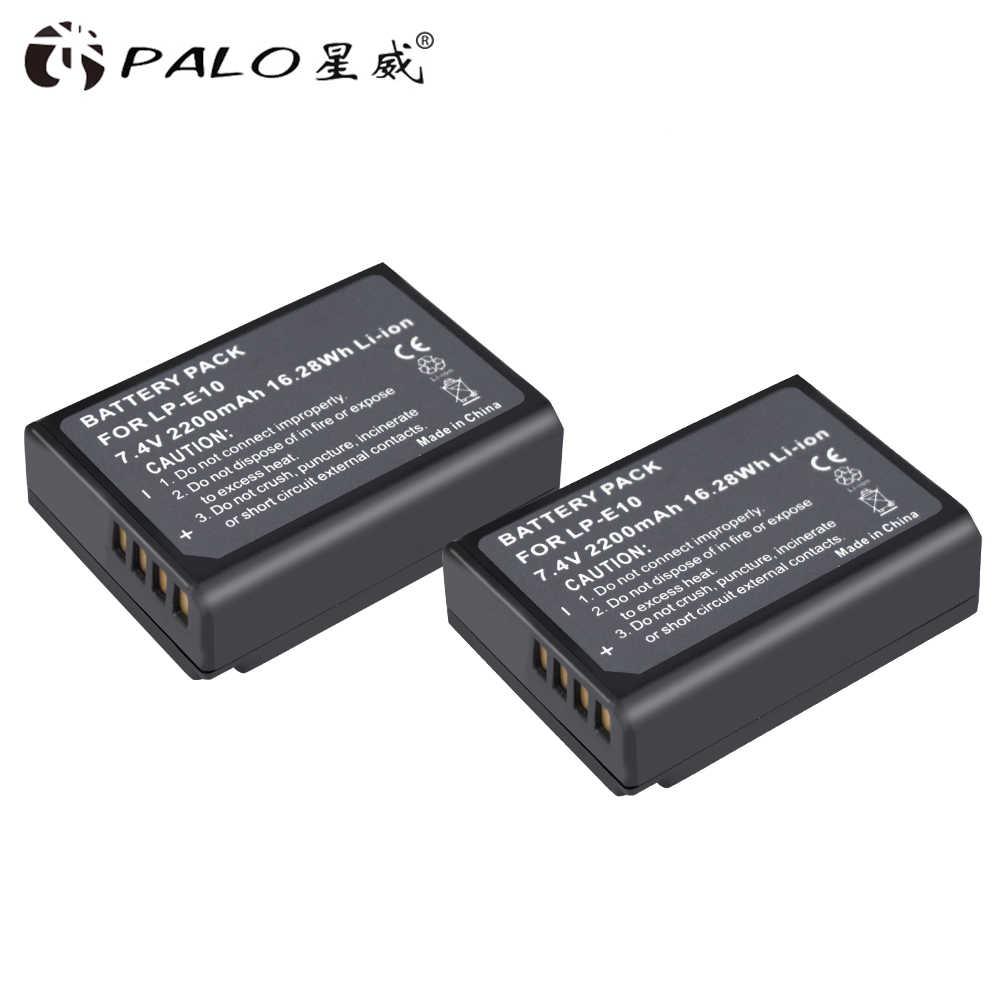 PALO 2 шт. цифровые аккумуляторы 2200 мА/ч, LP-E10 Камера Батарея для Canon 1100D 1200D 1300D Rebel T3 T5 поцелуй X50 X70 7,4 V batterias