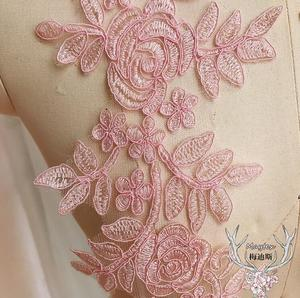Image 3 - 4 Pcs/2 Pairs 14.5*35cm Pink Gold Fabric Flower Venise Lace Sewing Applique Hot Sale Lace Collar Neckline Collar Free Shipping