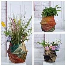 Fasion Foldable color Wicker Rotan penyimpanan rotan Garden Flower Pot Rumput ditenun Persekitaran simpanan rumah Laundry basket