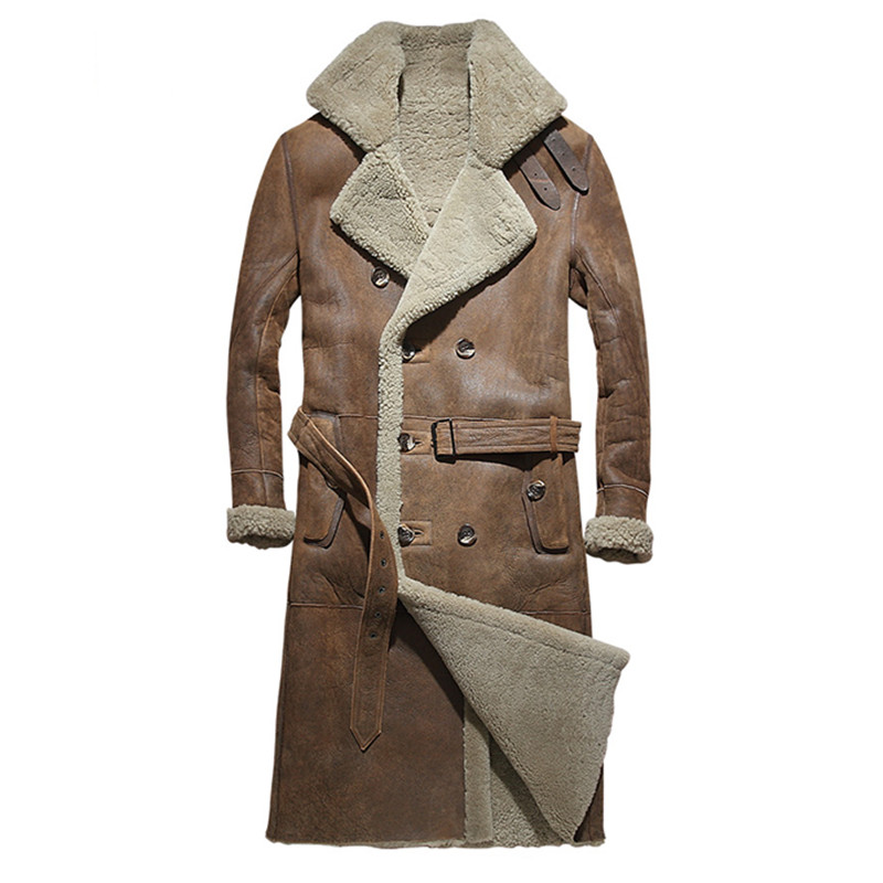 643532f89d76 2019 Brown Men Long Casual Shearling Coat Double Breasted Plus Size XXXXL  Slim Fit Winter Thick