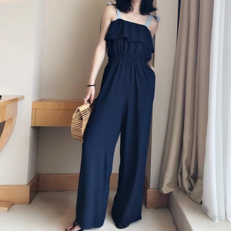TWOTWINSTYLE Lace Up Jumpsuits Womens Off Shoulder Ruffles Tunic High Waist Maxi Wide Leg Pants Summer Fashion Holiday Clothing 10