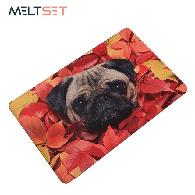 New Pug Dog Printing Carpet Doormats Anti-slip Floor Mat For Babies Animal Pug Front Door Mat Rug 40*60cm/50*80cm