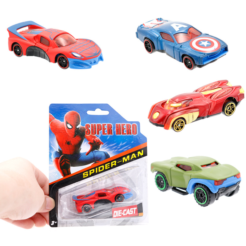 Newest Children Toys Car Marvel The Avengers Captain America Iron Man Hulk Spider Man Action Figure Car Model Toy Kids Boys Gif