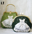 2017 Women Shabby Chic Lace Shoulder Bag Handmade Vintage Retro Victorian Bridal Wedding Kiss Lock Frame Funky Cute Handbag Bag