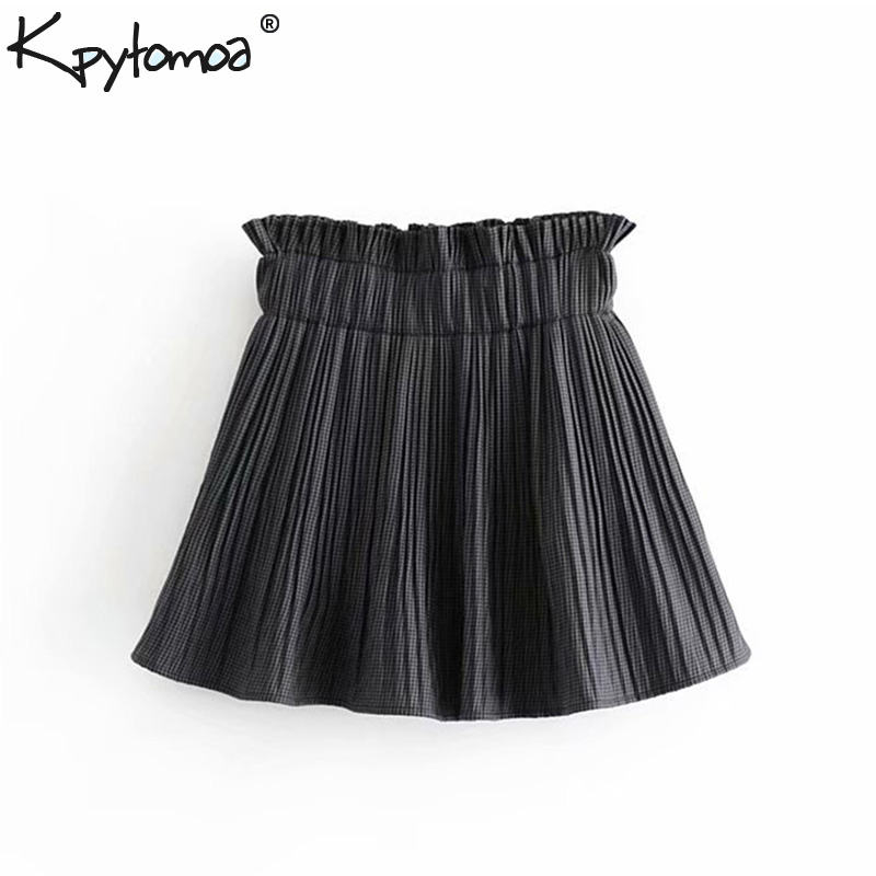 e893477065b8f4 Beste Koop Vintage Chic Plaid Geplooide Mini Rok Vrouwen 2018 Mode  Elastische Taille EEN Lijn Streetwear Dames Rokken Casual Faldas Mujer  Goedkoop