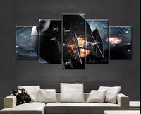 Large Framed Modern Indoor Decor Star Wars Tie Fighter Death Print Canvas Decoration 5 Pieces