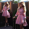 Осень Dress Женщины Леди Мода Turn Down Длинным Рукавом Асимметричный Плиссе Повседневные Вечерние Мини Рубашка Dress S-XL