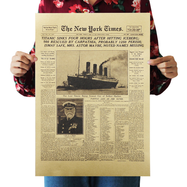 Bearoom Home Decor Wall Sticker Titanic Sinks New York Times Retro Kraft  Paper Poster Bar Cafe