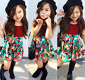 16 New Fashion Summer Girls Floral Clothes Set tops + Skirt Suit Baby Children girl outfits Top Quality
