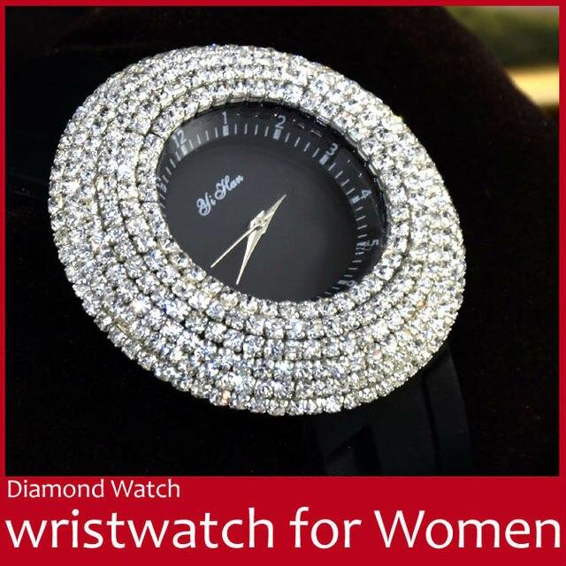 Fashion Silicone Strap Bling Diamond Women Rhinestone Watch Luxury Lady Round Quartz Wristwatch Wrist Watch Black FREE SHIPPING