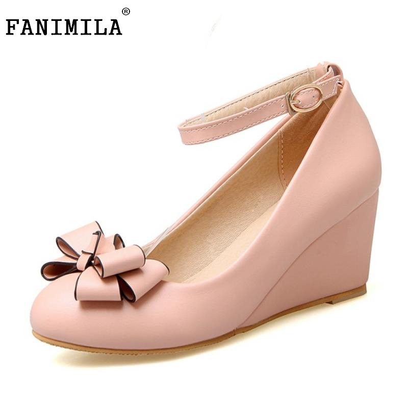 womens wedges high heels shoes women pumps bowknot ankle strap round toe - Free Sample Shoes