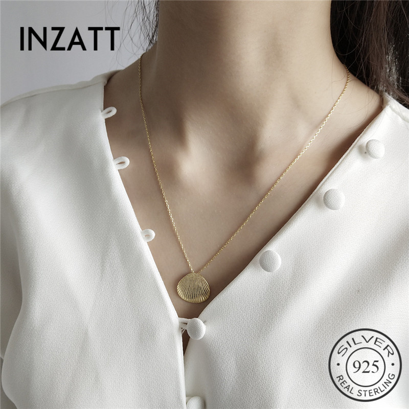 INZATT Real 925 Sterling Silver Minimalist Shell Necklace For Fashion Women Birthday Party Fine Jewelry Elegant Accessories GiftINZATT Real 925 Sterling Silver Minimalist Shell Necklace For Fashion Women Birthday Party Fine Jewelry Elegant Accessories Gift