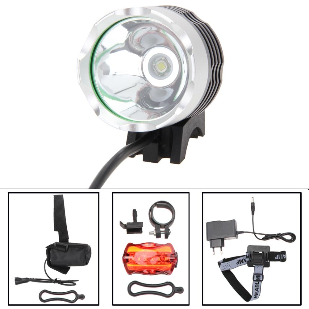 Цена за 5000Lm Водонепроницаемый СВЕТОДИОДНЫЕ Фары Переднего Света + Безопасность Задний Фонарь Велосипед Лампа Велосипед Фонарик с AC зарядное устройство ЕС Plug