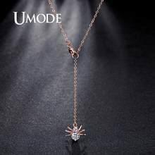 Umode aranha longo pingente de corrente colares para as mulheres rosa ouro zircônia cúbica colares moda jóias presentes festa un0227