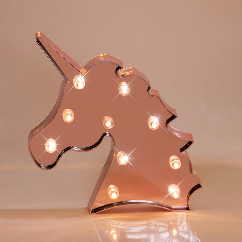 DELICORE Rose Gold Glitter/Silver Unicorn Marquee Signs LED Night Light for Party Supplies Table Wall Decoration Kids' Room delicore purple light unicorn head led night lights animal marquee lamps on wall for children party bedroom decor gifts s027 p