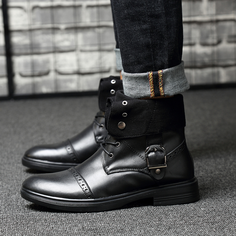 2019 autumn winter men 39 s ankle boots tactical military genuine leather boot shoe man big size work shoes male snow boots for men in Snow Boots from Shoes
