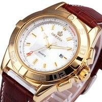 Exclusive ORKINA Men Unisex Classic Vogue Analog Quartz Wrist Watch Brown Breathable Leather Strap Golden Case