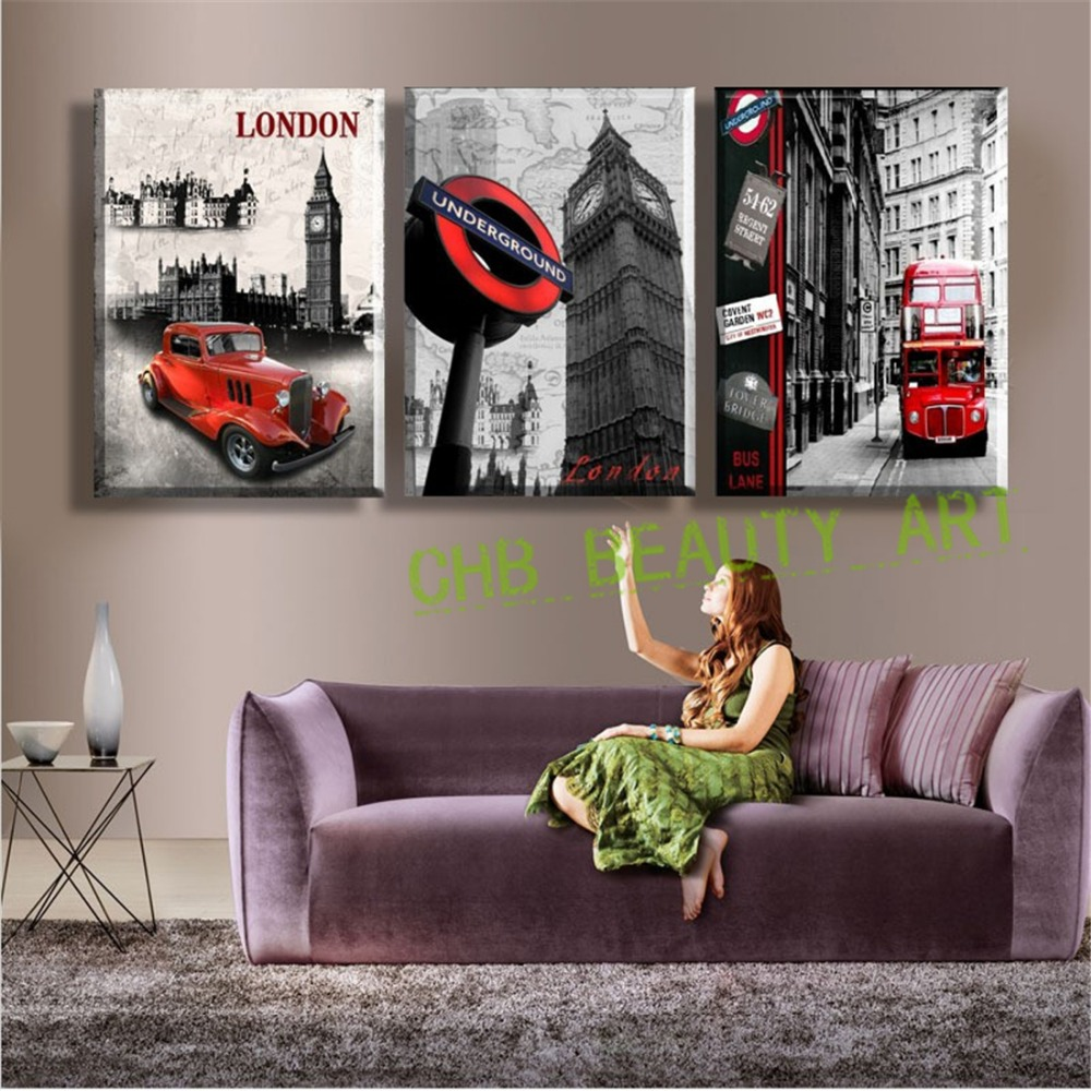 3 Panel Wall Art Paintings Famous London Building