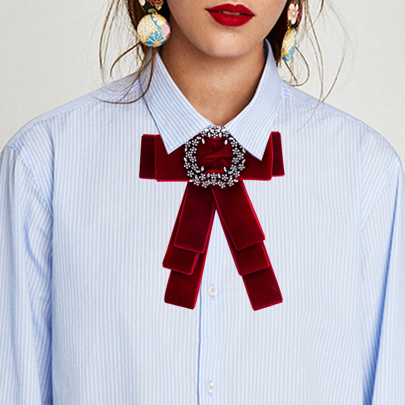 meidi Velvet Braided Necktie Brooches For Women Rhinestone Bow Brooches  Pins Shirts Dress Accessories Fashion Jewelry 73b3841bf52d