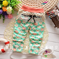 free shipping Children's clothing  2017 autumn  new  girl child with sun flower dot pants