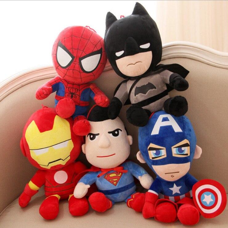 2019 Plush Toys Avengers Iron Man Hulk Thor Spiderman Batman Superman Captain America Boy Christmas Birthday Gift 25cm