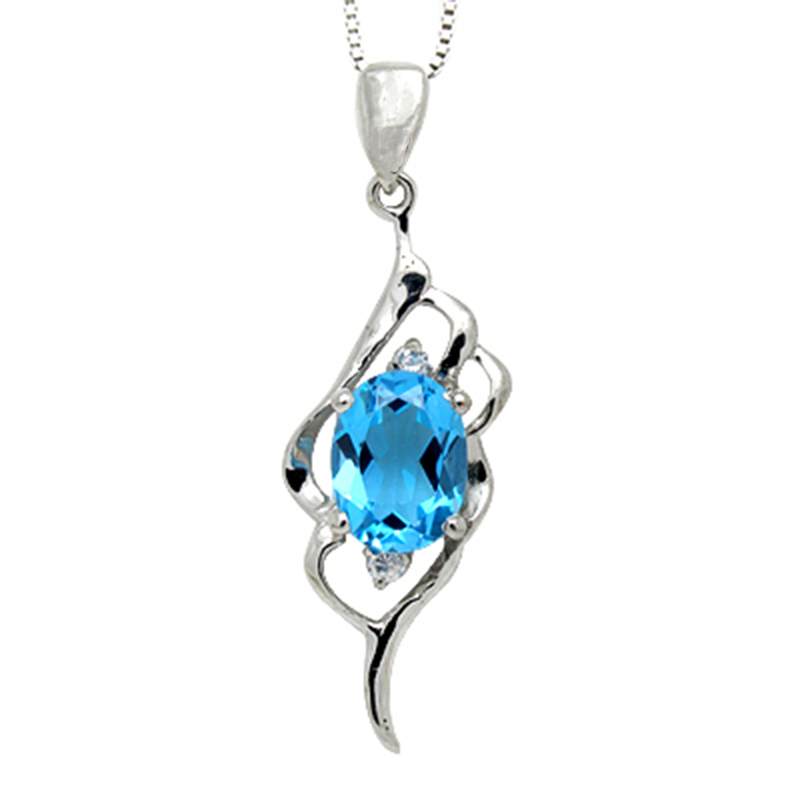 Qi Xuan_Blue pierre Simple élégant pendentif collier _ réel bleu pierre collier _ qualité garantie _ fabricant directement vente