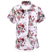Silky Cotton Floral Shirt Men Short sleeve Hawaii Blouse Mens Clothes Beach style Summer