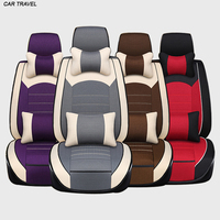CAR TRAVEL Linen cloth Fit for Dodge Challenger Car Seat Cover Set Black Seat Covers Protector Ventilated Cushion