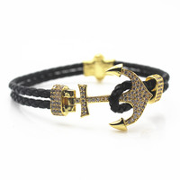 Man Stainless Steel Anchor Bracelet Double Layer Braided Leather Rope Wrap Hooks Bangles Cuff Wristband Charm Jewelry